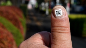 This picture taken on December 5, 2016 shows a city officer displaying a QR code on his fingernail near the Iruma city hall in Iruma, Saitama prefecture, a western suburb of Tokyo. © Toshifumi KITAMURA / AFP