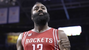 Houston Rockets guard James Harden (13) reacts after defeating the Oklahoma City Thunder during an NBA basketball game in Oklahoma City, Friday, Dec. 9, 2016. Houston won 102-99. (AP / Alonzo Adams)