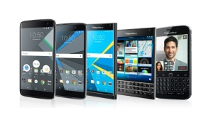 BlackBerry's current range of smartphones is seen in this provided image. © BlackBerry
