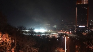 A view of Besiktas football club stadium, following at attack in Istanbul, late Saturday, Dec. 10, 2016. (AP Photo)