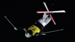 Canada's Mikael Kingsbury competes in the men's dual moguls to win the World Cup freestyle skiing final city event in Moscow, Russia, on Saturday, March 5, 2016. (THE CANADIAN PRESS/AP, Ivan Sekretarev)