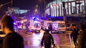 Police officers and ambulances fill the street next to the Besiktas football club stadium, in Istanbul, late Saturday, Dec. 10, 2016. (AP Photo / Halit Onur Sandal)