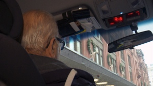 Nick Matsoukas, a 77-year-old Montreal taxi driver with four decades experience, is angry that his permit to drive a cab in Montreal has been devalued by ride-sharing apps like Uber.