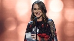 """Natalie Portman accepts the award for best actress for """"Jackie"""" at the 22nd annual Critics' Choice Awards at the Barker Hangar on Sunday, Dec. 11, 2016, in Santa Monica, Calif. (Photo by Chris Pizzello/Invision/AP)"""