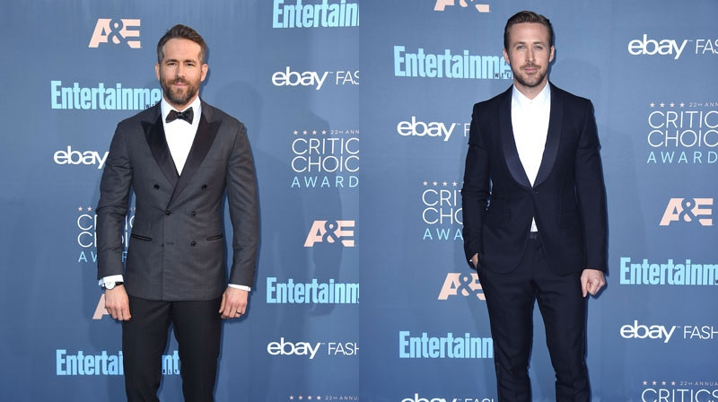Canadians Ryan Reynolds and Ryan Gosling arrive at the 22nd annual Critics' Choice Awards at the Barker Hangar on Sunday, Dec. 11, 2016, in Santa Monica, Calif. (Photo by Jordan Strauss/Invision/AP)