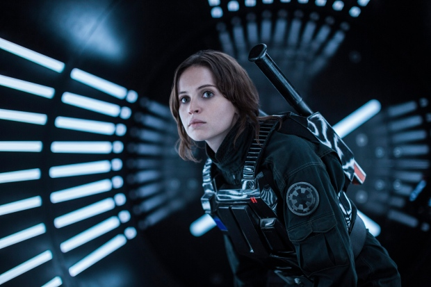 This image released by Lucasfilm Ltd. shows Felicity Jones as Jyn Erso in a scene from, 'Rogue One: A Star Wars Story.' (Jonathan Olley / Lucasfilm Ltd. via AP)