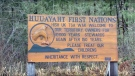 A sign is seen on Huu-ay-aht First Nation territory on Vancouver Island in this undated still taken from YouTube.