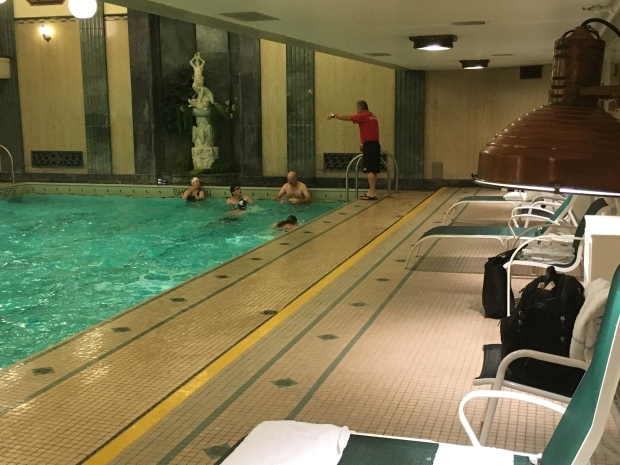 A group of MPs meet once a week to swim at a pool near Parliament Hill under the watchful eye of coach Pierre Lafontaine. (Laura Payton / CTV)