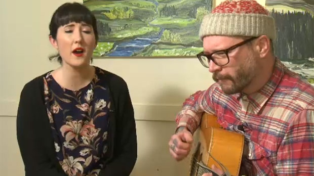 Ellen Doty and Danny Vacon performing 'Favourite Sweater'. All proceeds from the sale of the song will be donated to the Drop-In Centre.