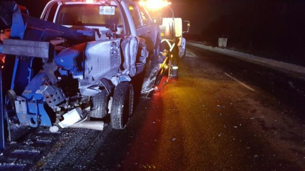 Highway 401 crash between transport and tow truck leads to