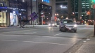 An SUV lost control on Burrard Street and took out a light pole and part of a trolley wire. (CTV)