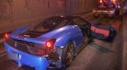 A Lamborghini and Ferrari crashed overnight in the Massey Tunnel, and both vehicles displayed new driver stickers. (CTV)