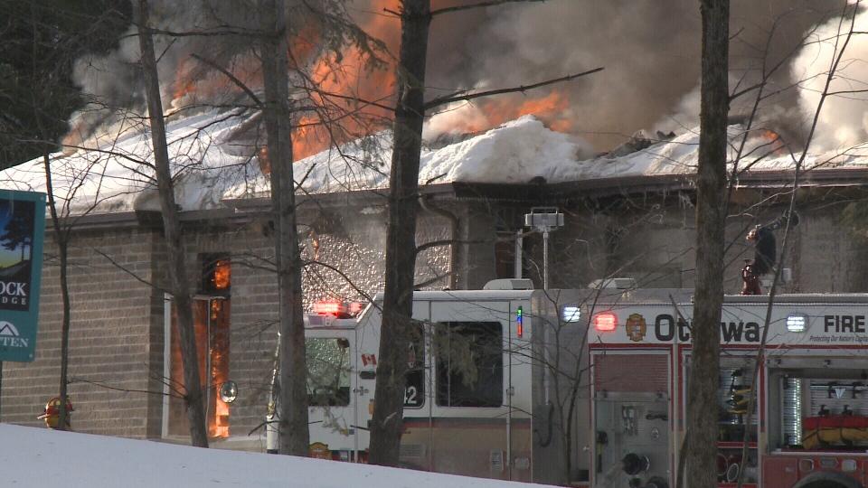 Flames tear through a home on Hedley Way in Kanata on Friday, Dec. 16, 2016. (Jim O'Grady/CTV Ottawa)