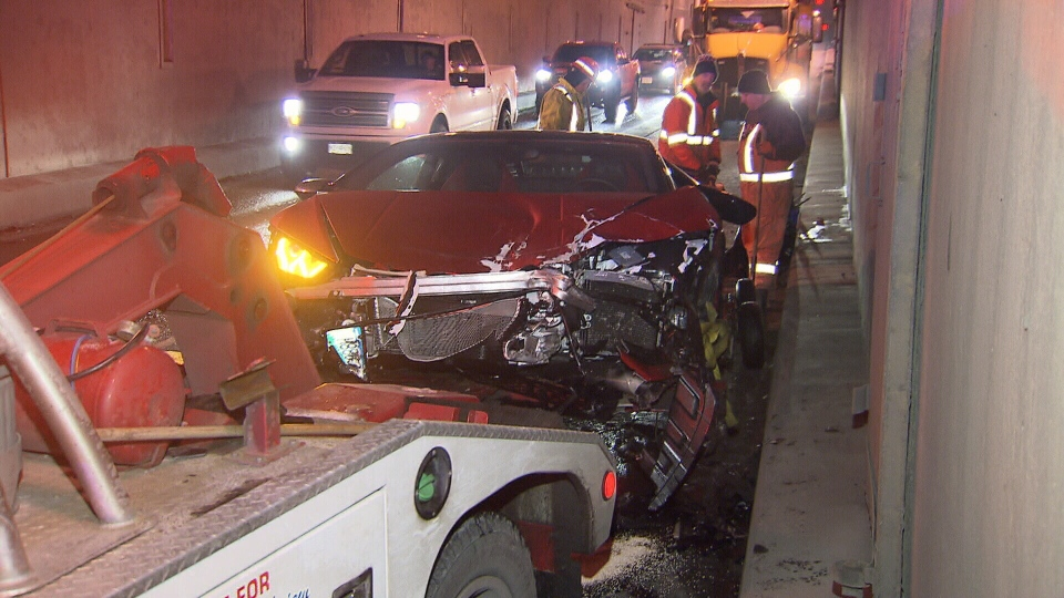 Two Italian sports cars were involved in a crash in the Massey Tunnel. (CTV)