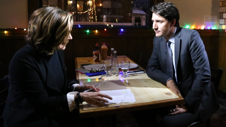 Prime Minister Justin Trudeau talks to CTV News Chief Anchor and Senior Editor Lisa LaFlamme in his Quebec riding of Papineau on Friday, Dec. 16, 2016. (Rosa Hwang / CTV News)
