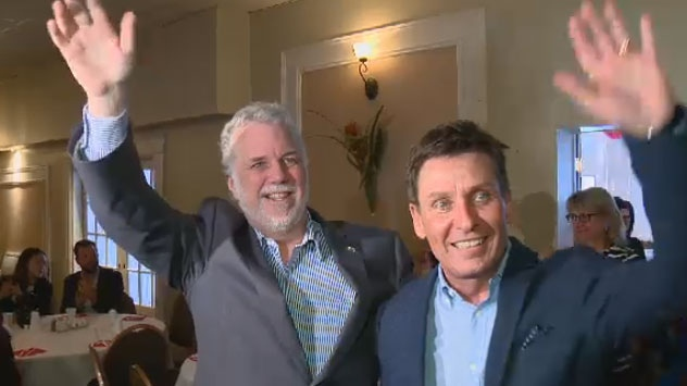 After almost a year away due to a fight with meningitis, Pierre Moreau was welcomed back by Premier Philippe Couillard at a Liberal party brunch on Sunday.