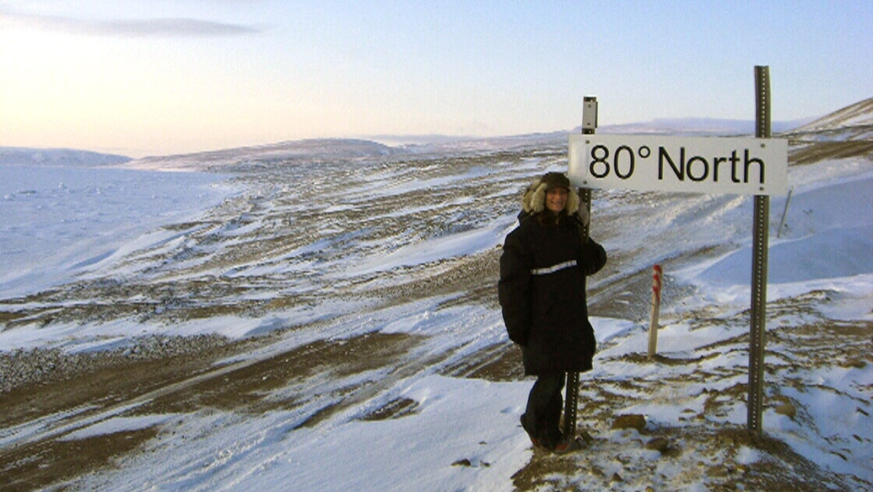 Jane Fonger poses for a photo in Eureka, Nunavut: the coldest inhabited place in Canada.