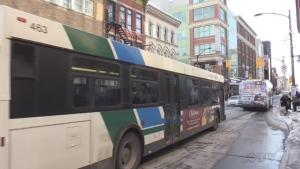 An LTC bus passes through downtown London, in this file photo. (CTV London)