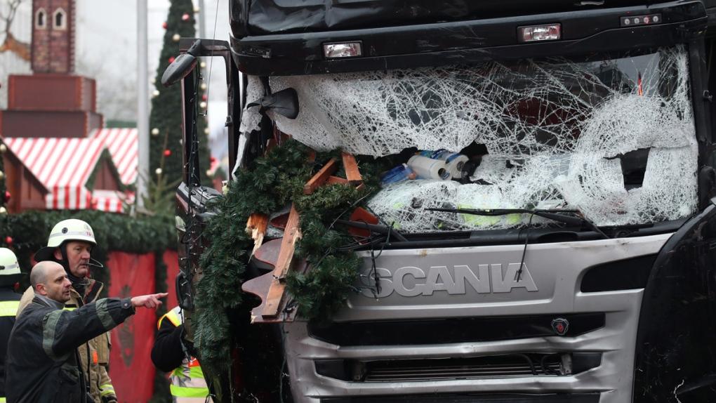 The damaged truck in Berlin, Germany