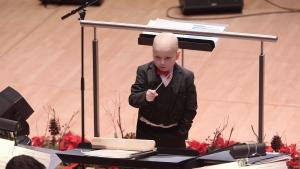 Jordan Cartwright conducting the Edmonton Symphony Orchestra at the Winspear Centre in Edmonton on Monday.