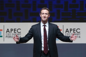Mark Zuckerberg, chairman and CEO of Facebook, speaks at the CEO summit during the annual Asia Pacific Economic Cooperation (APEC) forum in Lima, Peru, Saturday, Nov. 19, 2016. (AP / Esteban Felix)