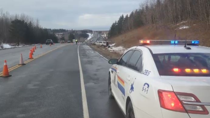 The RCMP respond to a fatal collision on Highway 104 near Heatherton, N.S.