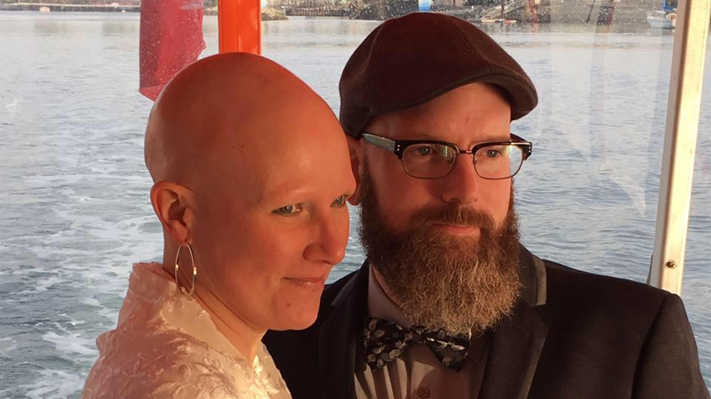 Jana Buhlmann, who has alopecia, and Chris Walters tied the knot in Vancouver on Dec. 17, live-streaming their vows for family and friends. (Facebook)