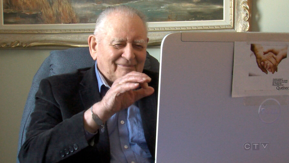 Fernand Henley uses Skype to chat with his out-of-province daughter.