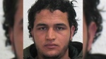 The wanted photo issued by German federal police on Wednesday, Dec. 21, 2016 shows 24-year-old Tunisian Anis Amri who is suspected of being involved in the fatal attack on the Christmas market in Berlin on Dec. 19, 2016. German authorities are offering a reward of up to 100,000 euros ($105,000) for the arrest of the Tunisian. (German police via AP)
