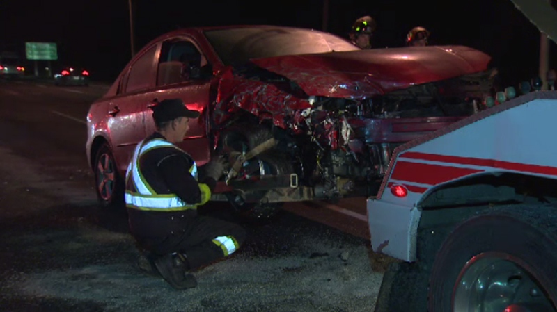Three people were sent to hospital in a multi-vehicle crash on the Pat Bay Highway Wed., Dec. 21, 2016. (CTV Vancouver Island)