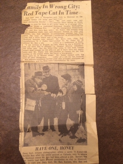 Newspaper clipping Hungarian refugees