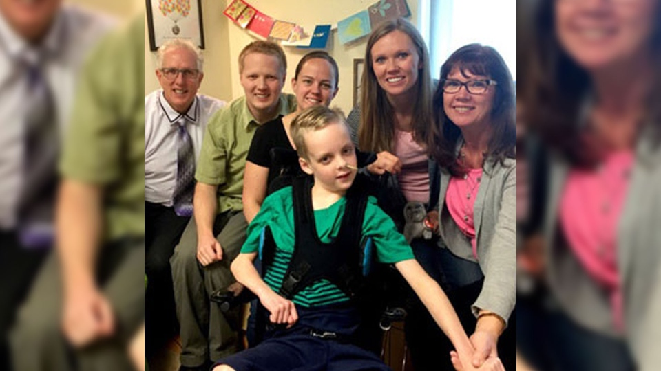 Ethan Nielson appears in an April 2016 photograph snapped at the Alberta Children's Hospital. (Supplied)