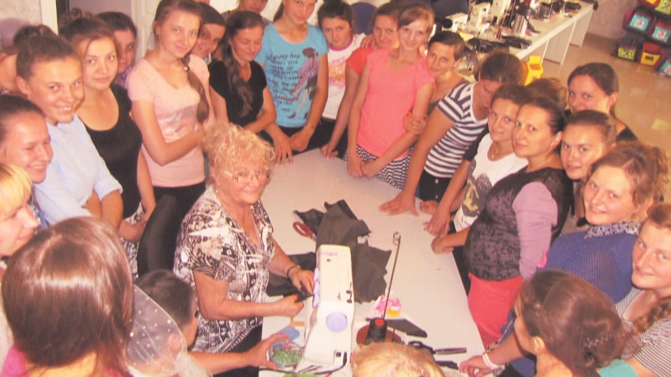 Sylvia Rempel is seen with one of her Sewing Seeds International classes.