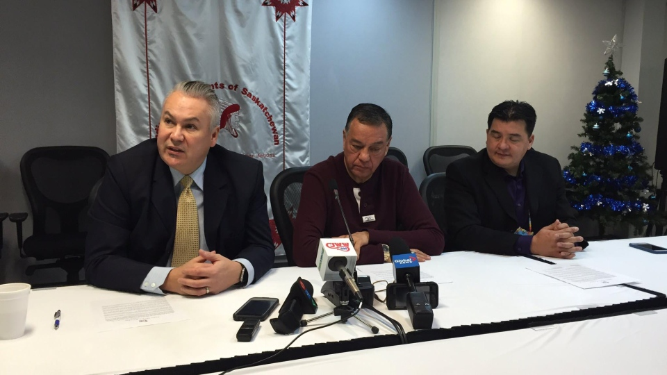 Lawyer Ron S. Maurice (left), Beardy's Okemasis Chief Rick Gamble (middle) and FSIN Chief Bobby Cameron (right) speak at a press conference on Dec. 27, 2016. (Taylor Rattray / CTV Saskatoon)