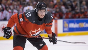 Canada's Pierre-Luc Dubois is pictured during first period exhibition game action ahead of the IIHF World Junior hockey championship, in Toronto on Friday, December 23, 2016. THE CANADIAN PRESS/Chris Young