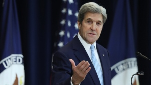 U.S. Secretary of State John Kerry speaks about Israeli-Palestinian policy, at the State Department in Washington, on Dec. 28, 2016. (Andrew Harnik / AP)