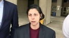 Melissa Facciolo is seen here outside court in London, Ont. on Wednesday, Dec. 28, 2016. (Reta Ismail / CTV London)