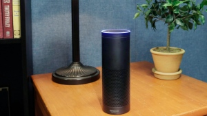 In this July 29, 2015, file photo, an Amazon Echo sits on a