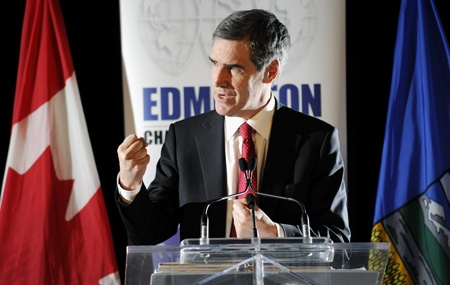 Liberal Leader Michael Ignatieff speaks to the Edmonton Chamber of Commerce at the Coast Edmonton Plaza Hotel in Edmonton, Alberta on Friday, February 27, 2009. (THE CANADIAN PRESS / Jimmy Jeong)