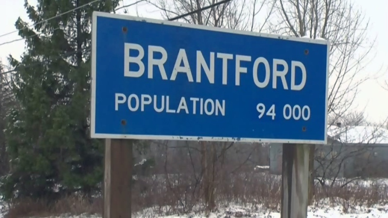 A sign welcomes people to Brantford.