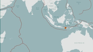 The orange dot on this map from the U.S. Geological Survey shows the location of an earthquake that hit eastern Indonesia.