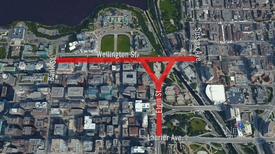 A map of road closures planned for Ottawa on New Year's Eve