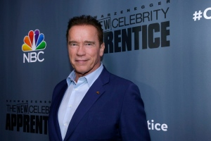 This Dec. 9, 2016 image released by NBC shows Arnold Schwarzenegger, the new boss of 'The New Celebrity Apprentice,' at a press junket in Universal City, Calif. (Paul Drinkwater / NBC)