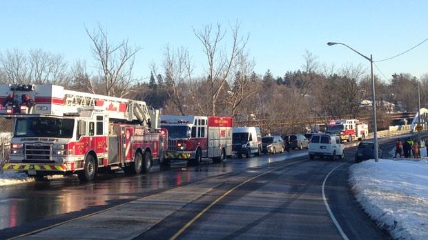 Emergency response teams at the King Street East bridge. (Jan. 1, 2017)