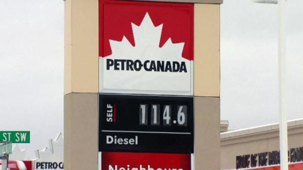 Gas prices rise in Toronto and Alberta, on Jan. 1, 2016.