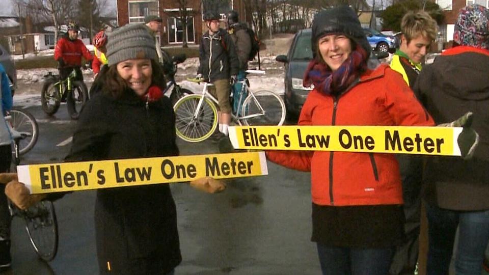 "Demonstrators demand ""Ellen's Law"" in Moncton, N.B., on Jan. 1, 2017."