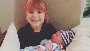Willow holding her baby brother Jameson in an Instagram picture posted by Pink. (source: Instagram / Pink)