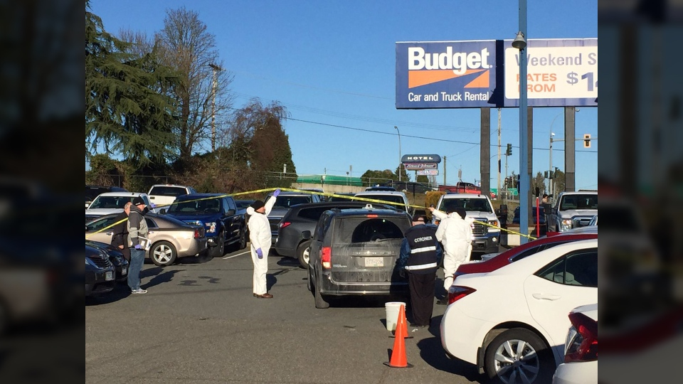 Police and coroners were on scene at the Budget Car and Truck Rental on Terminal Avenue just south of Comox Road around 10:30 a.m. Monday for a discovery of a dead body. Jan. 2, 2017. (CTV Vancouver Island)