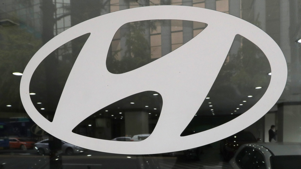 Hyundai Motor Co. logo in a showroom