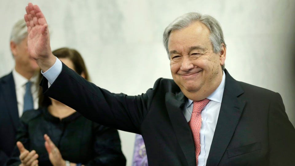 United Nations Secretary-General Antonio Guterres at UN headquarters in New York, on Jan. 3, 2017. (Seth Wenig / AP)
